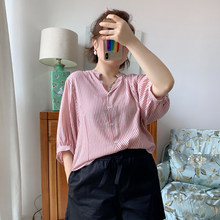 Vertical striped shirt is light, soft and beautiful, thin cotton shirt with lantern sleeves