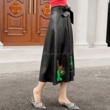 Streetwear Genuine Leather Bow A-Line Skirt Women Top Quality Sheepskin Printed Slim High Waist Maxi Skirt Pocket Oversize 4XL(China)