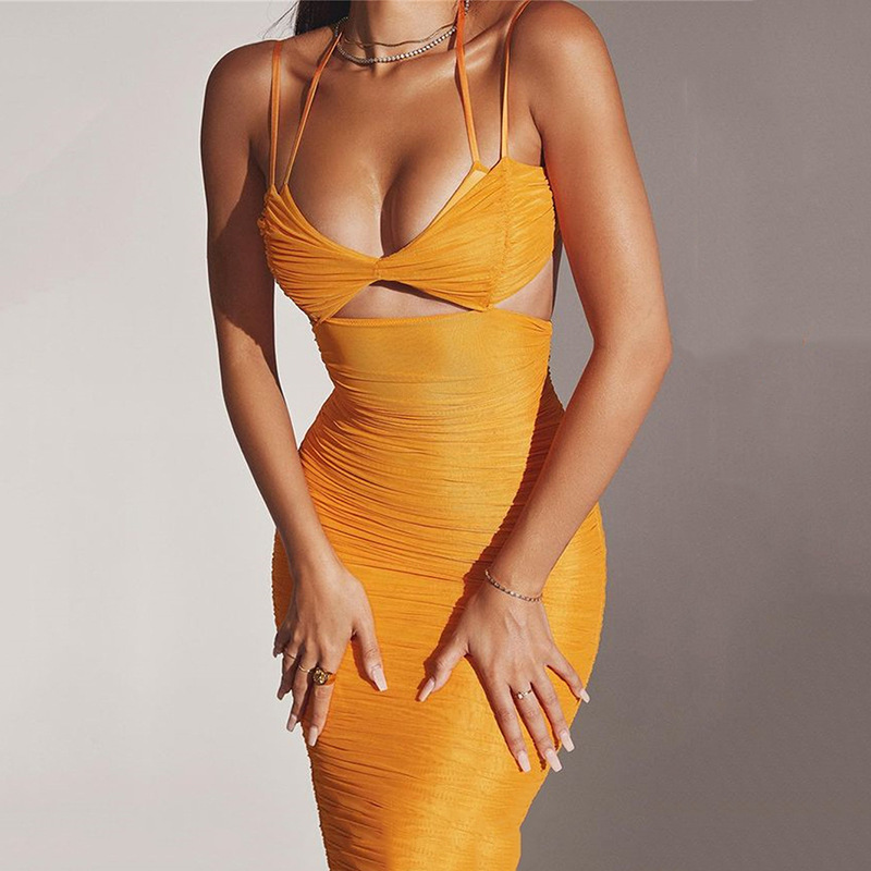 Townlike Elastic Mesh Tight Bandage Bodycon Dress Women 2021 Summer Halter Midi Dress With Lining Elegant Party Sexy Dresses 1