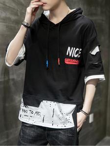 Sweatshirt Mens Pullover Short Black Hoodie Streetwear Hip-Hop Punk White Fashion Casual