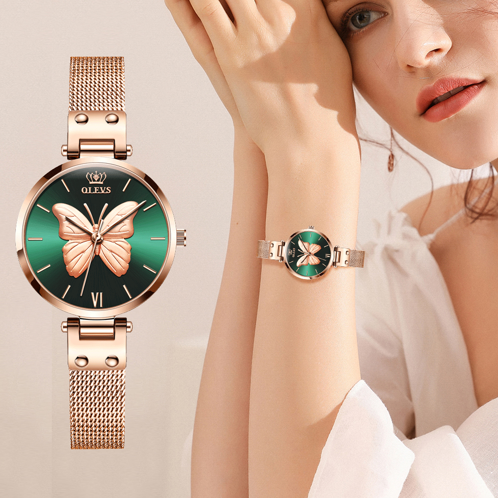 OLEVS Women Watches Top Luxury Brand Vivid Butterfly Watch Fashion Quartz Ladies Mesh Stainless Steel Waterproof Gift Watch 6891
