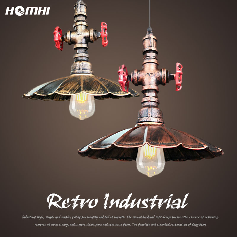 Industrial water pipe pendant lighting for dining room Gold Copper Loft creative kitchen lamp  industrial luminaire suspension