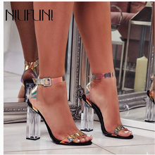 NIUFUNI New Arrival Sexy Transparent Black Womens Sandals Plus Size 35-42 Crystal Heel High Heels Buckle Shoes