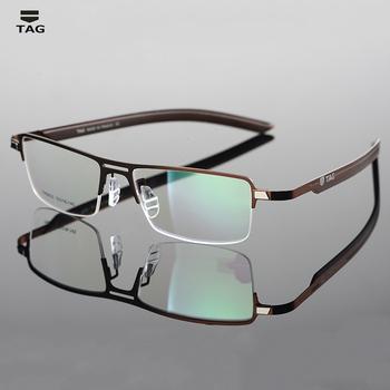 TAG marka optyczne okulary ramka mężczyźni pół ramki krótkowzroczność komputerowe okulary korekcyjne ramki okularów dla mężczyzn oprawki do okularów TH3823 tanie i dobre opinie TAGHezekiah Stop CN (pochodzenie) GEOMETRIC FRAMES Okulary akcesoria