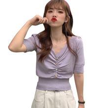 Женская трикотажная футболка с v образным вырезом однотонная