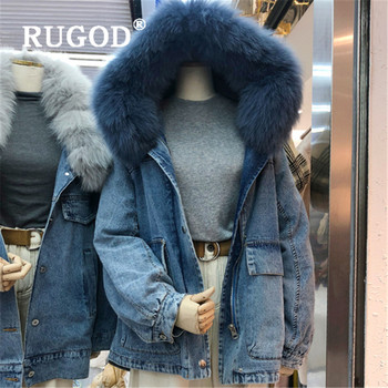 RUGOD 2019 Autumn Winter New Style Zipper Real Fox Fur Collar Thick Demin Long Jacket Plus Size Women image