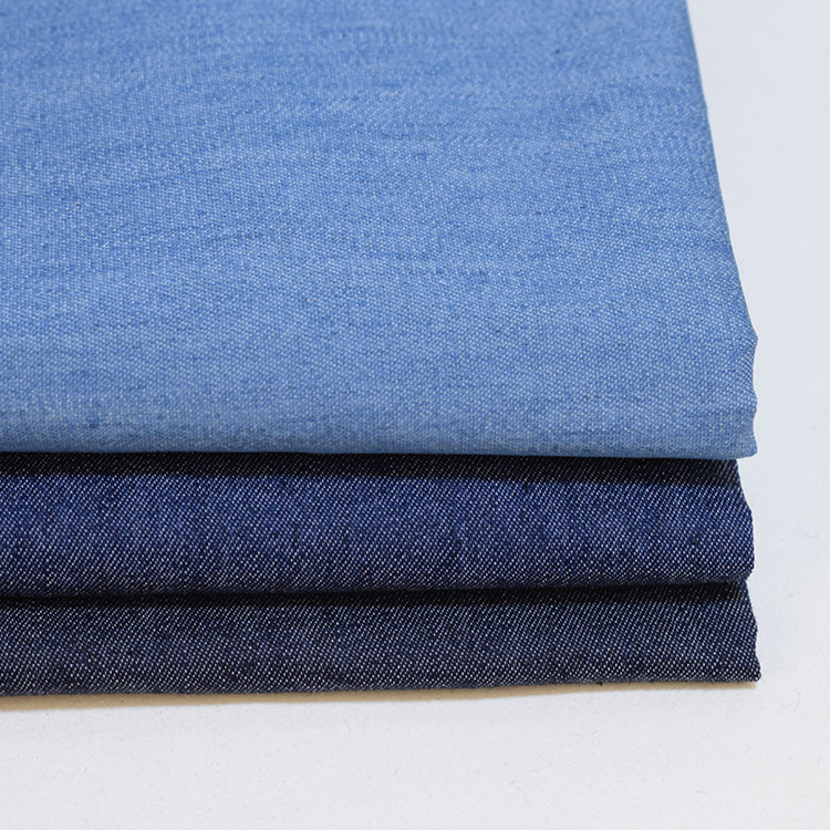 Twill woven thin denim fabric 33% polyester 65% cotton 2% elastic washed for jeans coat