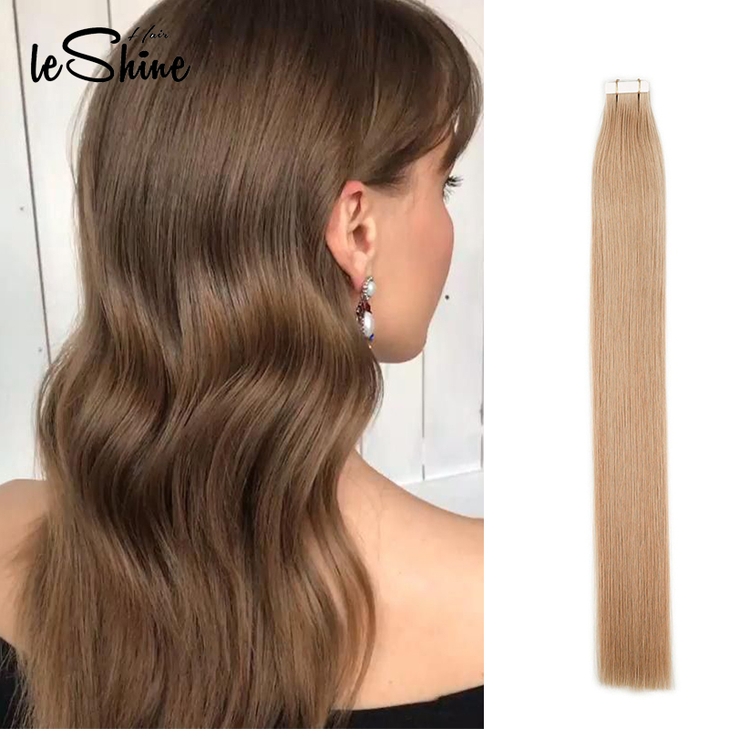 Leshine  Seamless Tape In Hair Extensions 100% Real Human Hair Skin Weft Hair Extensions 14''18''20'' Hair Extensions Adhesive