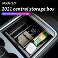 Центральный автомобильный подлокотник для хранения Коробка для Tesla модель 3 2021/модель Y центральной консоли Флокированная коробка для хране...