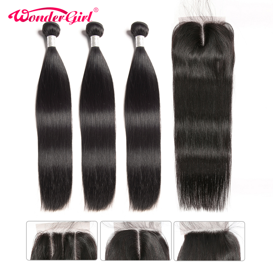 Brazilian Straight Hair Bundles With Closure Human Hair Weave Bundles With Closure Remy Hair 3 Bundles With Closure Wonder girl-in 3/4 Bundles with Closure from Hair Extensions & Wigs