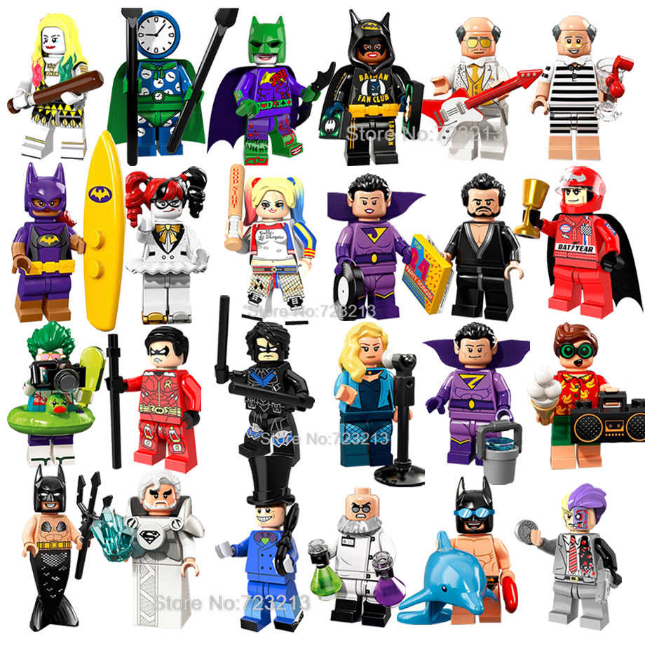 Single DC Super Hero Vacation Batman Figure Alfred Jor-El Btgirl Wonder Twins Zod  Canary Building Blocks kits Toys Legoing