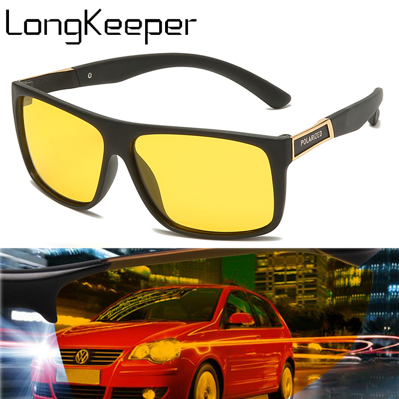 LongKeeper Night Vision Sunglasses Men Vintage Rectangle Shades Anti-glare Night Glasses Safety Driving Eyewear Gafas De Sol