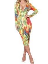Женское сексуальное платье миди с длинным рукавом и v образным