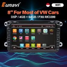 Eunavi 8 ''2 Din Android Auto Dvd Radio Voor Vw Volkswagen Polo Jetta Passat B6 B7 Cc Fabia Touran golf 6 Tiguan Rns510 Gps Dsp Bt