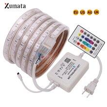 AC 110 В 220 В светодиодный светильник SMD5050 60 Светодиодный s/M гибкая светодиодная лента RGB Водонепроницаемый светодиодный светильник с Bluetooth музыкальным пультом дистанционного управления