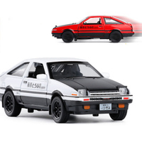 New INITIAL D Toyota AE86 1:28 Alloy Car Model Anime Cartoon Fast Furious With Pull Back Sound Light For Boy Toys Free Shipping