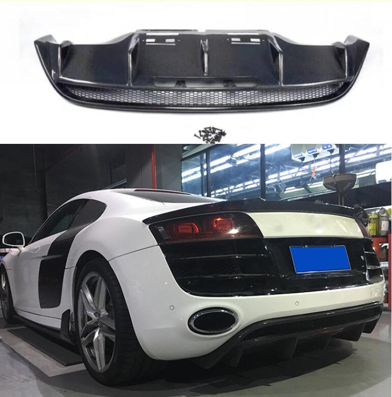 R8 de fibra de carbono Real coche parachoques trasero labio del divisor del difusor para Audi R8 V10 2008, 2009, 2010, 2011, 2012, 2013, 2014, 2015, 2016