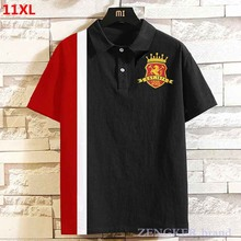 Oversized plus size casual shirt lapel elastic half-sleeved 9XL large size short-sleeved Polo Shirts male 11XL 10XL