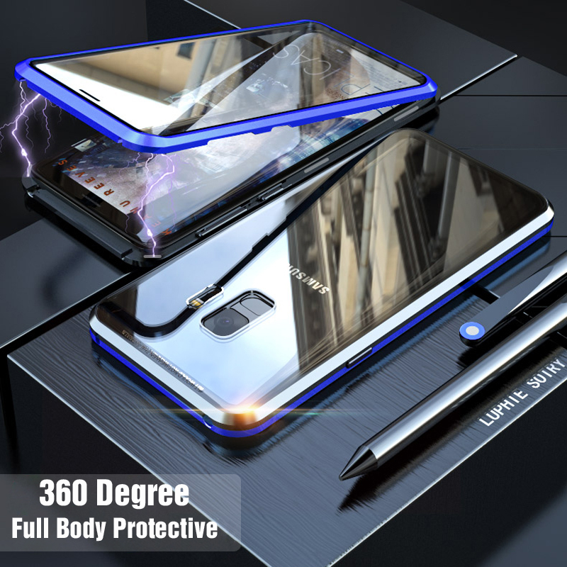 Front and Back Glass 360 Full Body Magnetic Case For Samsung Galaxy S9 Plus Note 9 S9Plus Note9 Luxury Magnet Metal Cover s