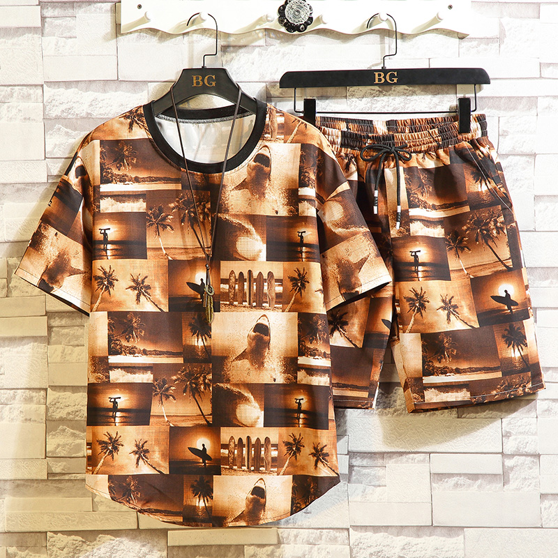 Closeout Deals≈Suits Short-Sets T-Shirt Printing Chinese-Style Casual Summer New-Fashion for Men