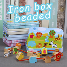4 Styles Wooden Baby DIY Toys Cartoon Fruit Animal Stringing Threading Wooden Beads Toy Monterssori Educational for Children