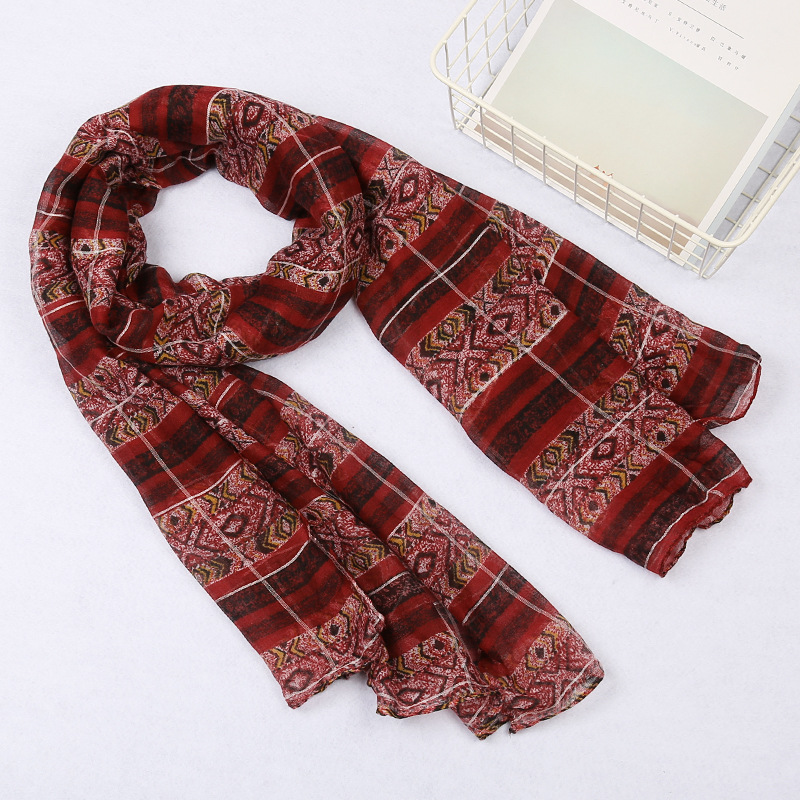 Fashion Winter Scarf Women Hijab Viscose Warm Stripe Print Bandana Blanket Wraps Female Scarves And Shawls