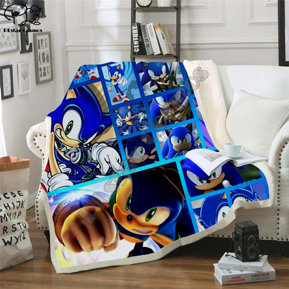Kids Anime Super Sonic 3D Blanket Design Fleece Cartoon Bendy Print Children Warm Bed Throw Blanket Newborn Bayby Blanket 004