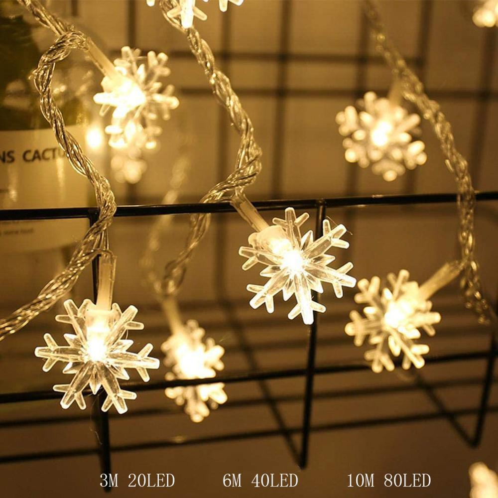 LEADLY LED Snowflakes String Light 20/40 LED 3/6M Snowflake String Fairy Lights Holiday Party Xmas Hanging Light String Battery