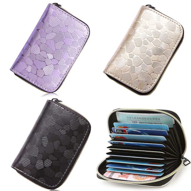 2019 new Fashion Women Men Credit ID Card Holder Case Extendable Business Bank Cards Bag Wallet Passport Cover Zipper Coin Purse image