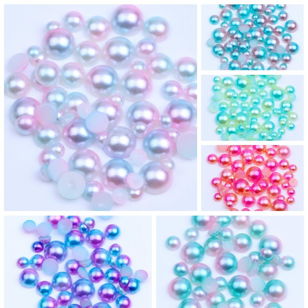 NEW 6mm 100pcs yellow Half Round Pearl Bead Flat Back Scrapbook Embellishment