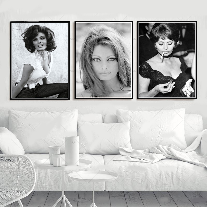 Hot SOPHIA LOREN Black White Actress Movie Woman Girl Poster Prints Oil Painting Canvas Wall Art Pictures Living Room Home Decor image