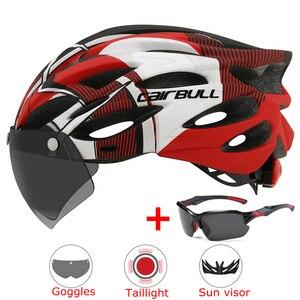 Image 1 - Casco de bicicleta de montaña moldeado integralmente con gafas extraíbles, ajustable, para ciclismo, unisex