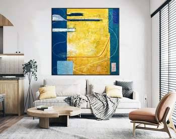 Abstract Painting Large Acrylic Canvas Wall Art Expressionism Yellow And Blue Modern Painting Wall Art On Canvas Summer Time