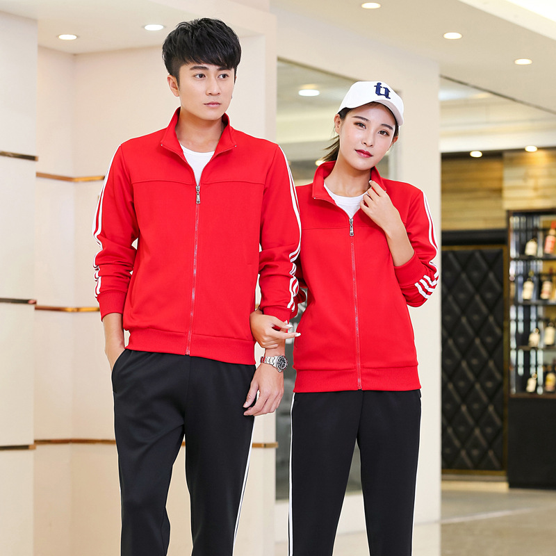 2019 New Style Spring And Autumn Running Sports Set Casual COUPLE'S Fitness Suit School Uniform