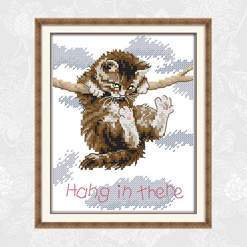 猫に掛かっ木の枝パターンプリント生地 14ct 11ct クロスステッチキット手作り初心者刺繍裁縫セット
