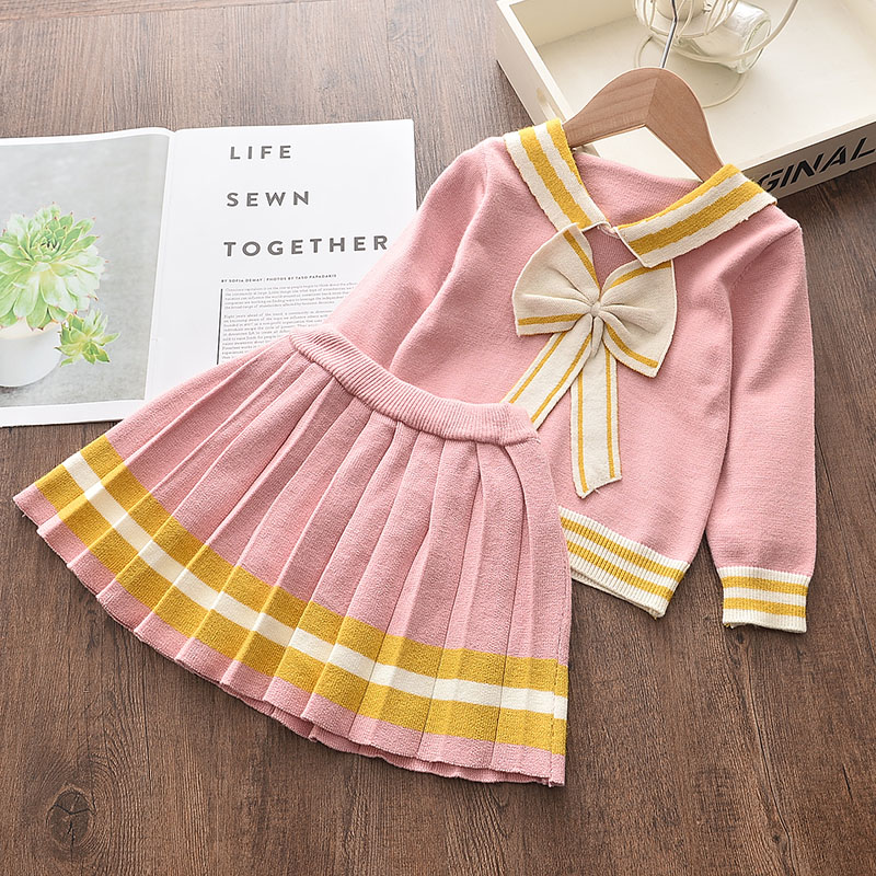 Menoea Girl Collage Style Sweater Children Winter Dress Bow Doll Collar Tops Baby Girls Casual Dress Sweater Knitwear Kids Suits
