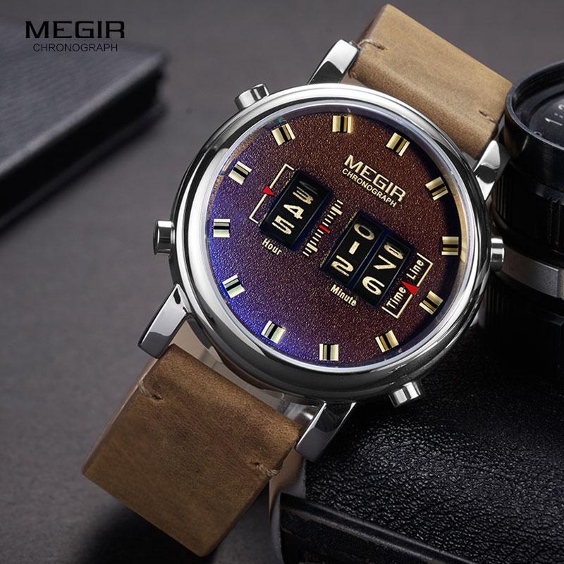 MEGIR 2019 New Top Band Watches Men Military Sport Brown Leather Quartz Wrist Watch Luxury Drum Roller Relogio Masculino 2137