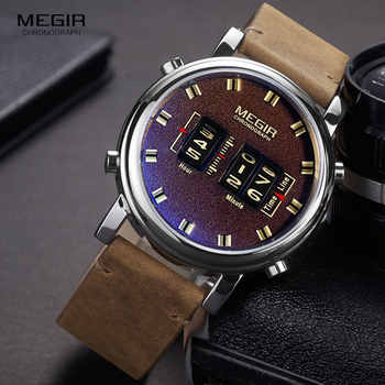 MEGIR 2019 New Top Band Watches Men Military Sport Brown Leather Quartz Wrist Watch Luxury Drum Roller relogio masculino 2137 - DISCOUNT ITEM  50% OFF All Category