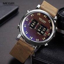 MEGIR 2019 nowy Top Band zegarki mężczyźni wojskowy Sport brązowy skórzany zegarek kwarcowy na rękę luksusowy bęben rolki relogio masculino 2137