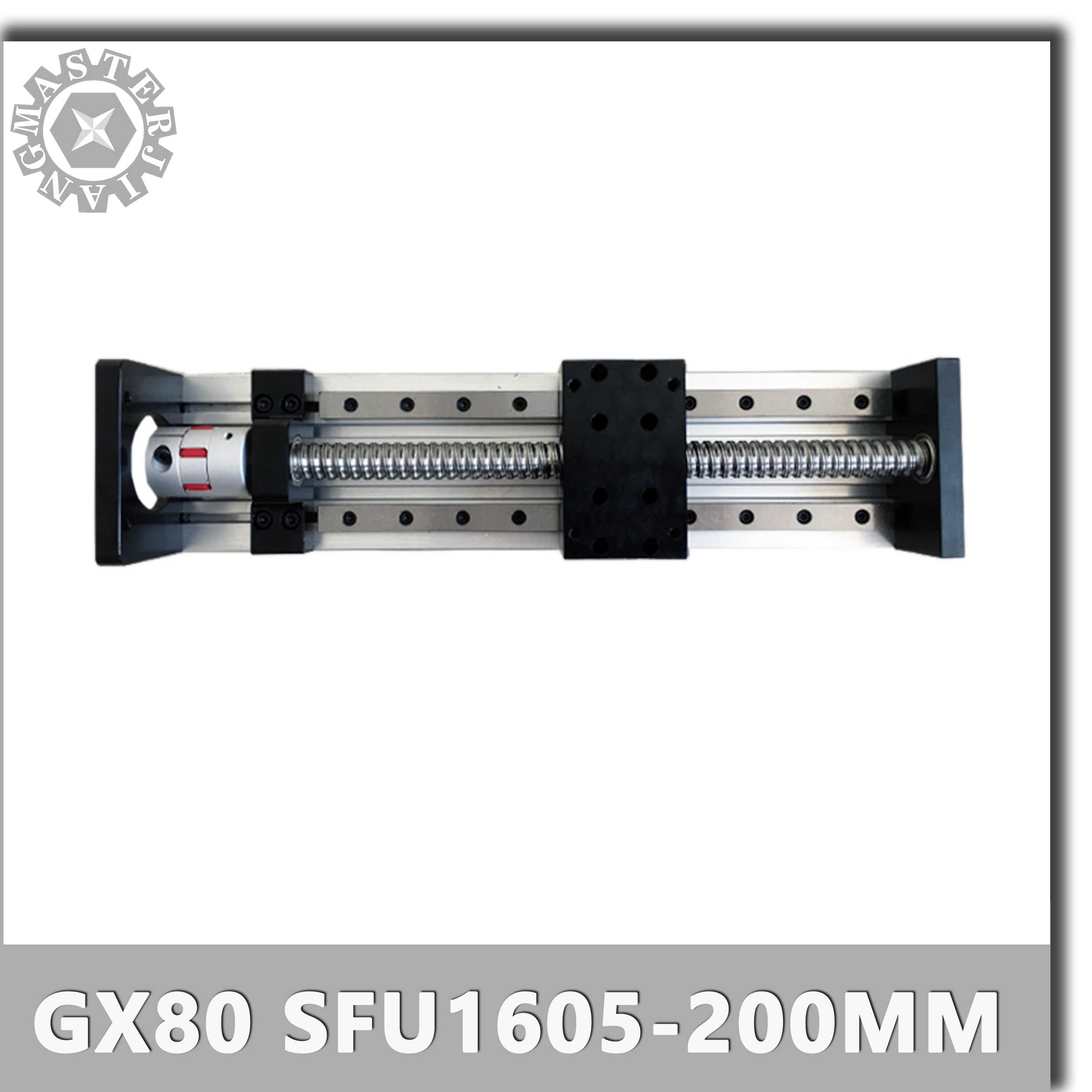 Customized GX80 SFU1605-200mm CNC Linear Guide Rails Linear Actuator System Module Table no Motor+Coupling for 60ST Servo Motor.