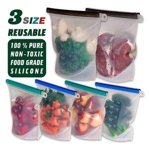Image 1 - 3 حجم قابلة لإعادة الاستخدام كيس تخزين طعام من السيليكون أكياس محكم ختم الغذاء الحفاظ على الحاويات حقيبة حفظ الطازجة للفواكه النباتية