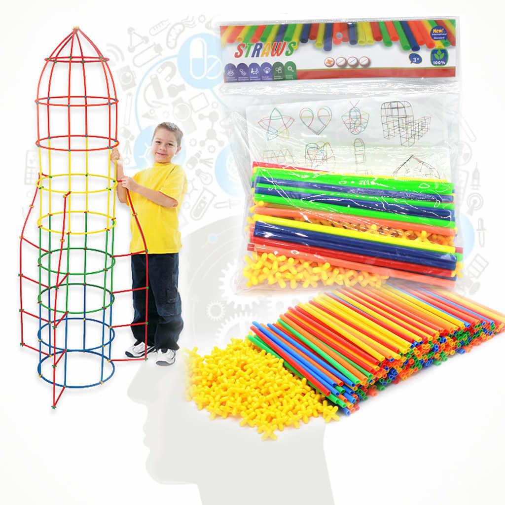 100/200/300Pcs Geplaatst Bouw Assembleren Blokken Stiksels 4D Straw Bouwstenen Tunnel Puzzel Speelgoed voor Kinderen geschenken