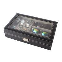 6 Slot Men Watch Glasses Box Leather Display Case Organizer Jewelry Storage
