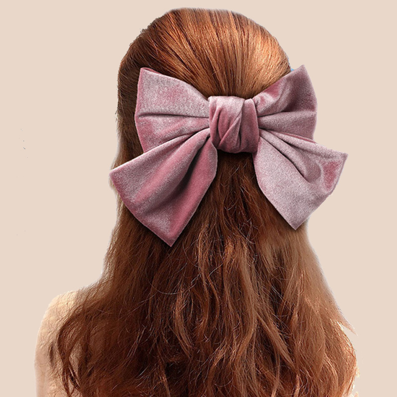 Vintage Double Layers Big Velvet Hair Bows Women Hair Clips Gumki Do Wlosow Scrunchie Hair Haar Accessoires Headwear Opaska