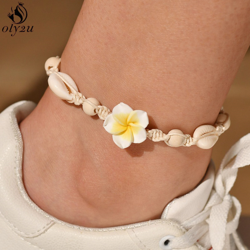 Oly2u Vintage Natural Shell Conch Rope Anklets for Women Summer Beach Jewelry Barefoot Charm Bracelet Ankle on Leg brincos