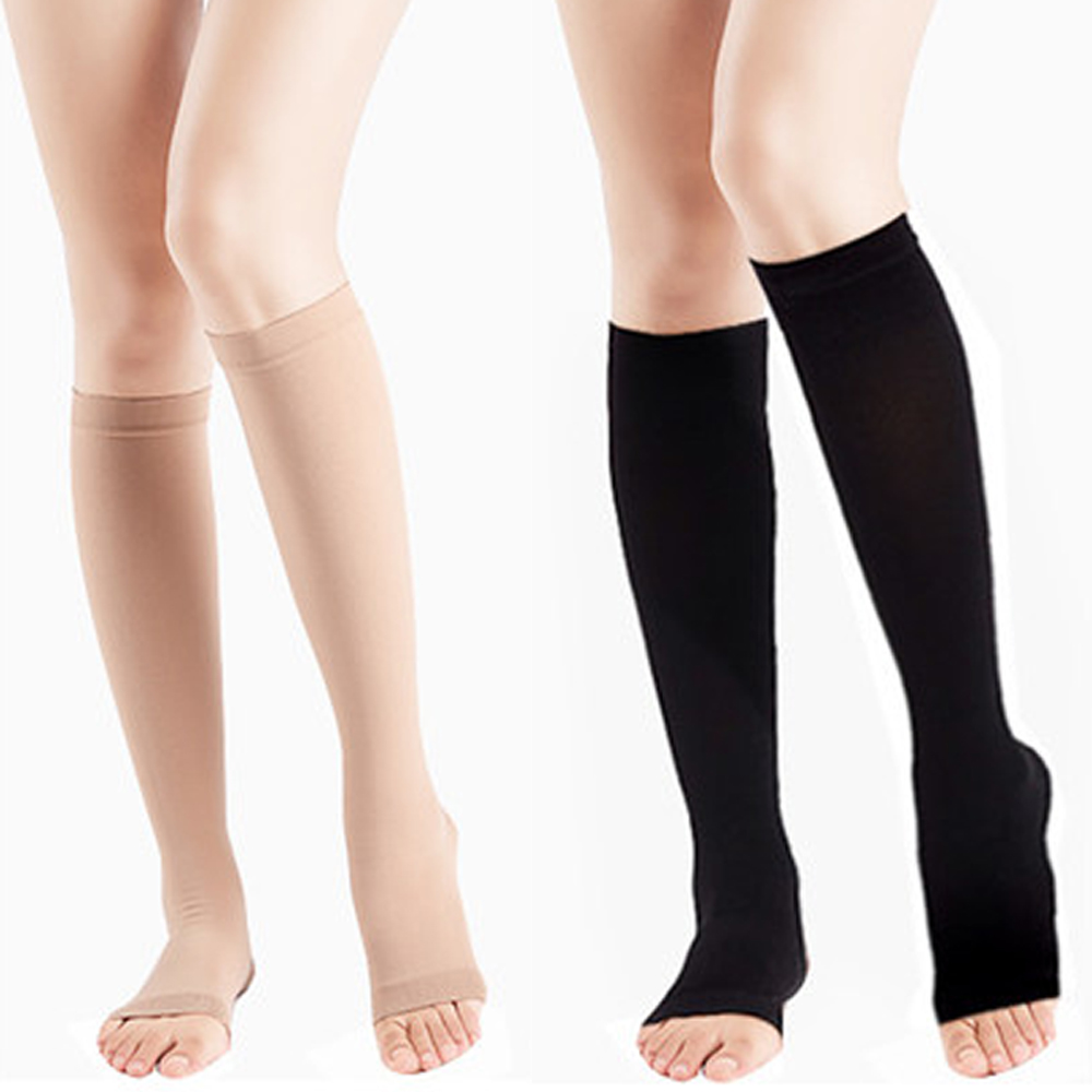 Unisex Open Toe Knee High Socks Leg Support Warmer Relief Pain Therapeutic Anti-Fatigue Sport Compression Stockings