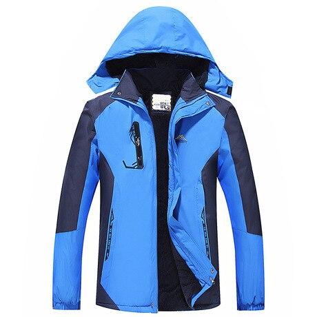 New Style Winter Men Mid-length Raincoat Jacket Casual Camping Mountain Climbing Sports Raincoat Jacket Couples Plus Velvet Rain