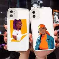 Fundas de teléfono negras Afro para mujer, protector transparente mate para iPhone 7 8 11 12 s mini pro X XS XR MAX Plus
