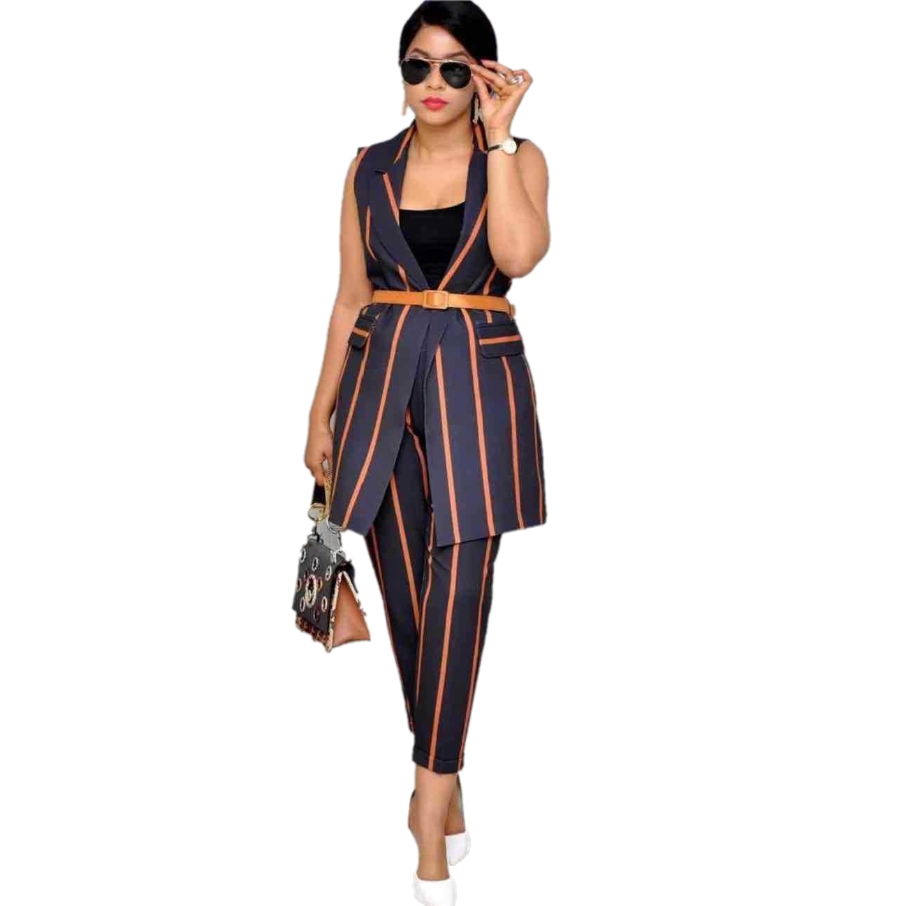 2 Pieces Set Sexy Spring Autumn Fashion Women Set Female Tops Stripe Print Sleeveless Vest Bodycon Stripe Pants Chic Suits