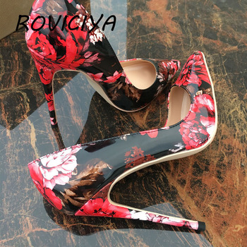 Red black flower pointed toe ladies pumps shallow women 12cm high-heeled sexy wedding party shoes QP061 ROVICIYA - discount item  50% OFF Women's Shoes